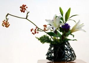 An example of Ikebana, the Japanese art of flower arrangement.