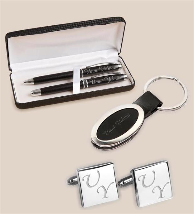 kalem anahtarlık ve kol düğmesi seti