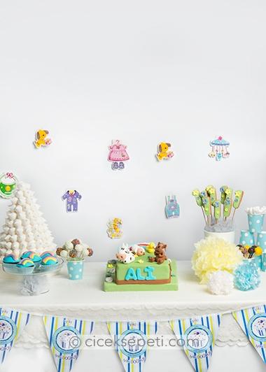 1 yas doğum günü parti mavi