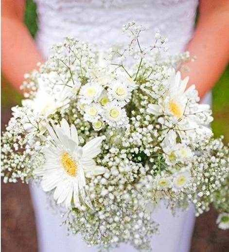 papatya ve gerbera gelin çiçeği