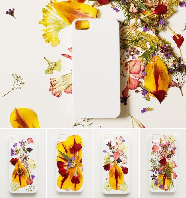 kurutulmuş çiçeklerle telefon kılıfı yapımı