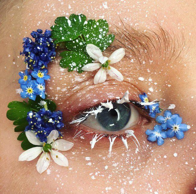 floral göz makyajı
