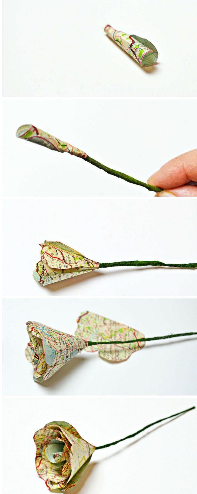 haritadan çiçek yapımı