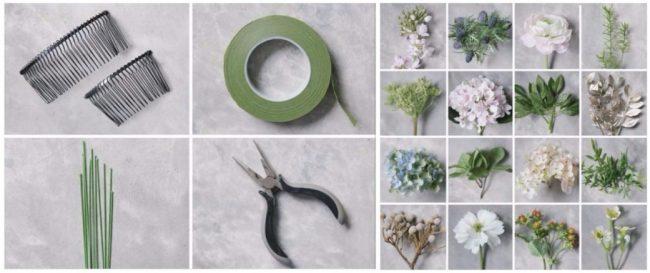 Kumaştan çiçekli taç ve toka yapımı