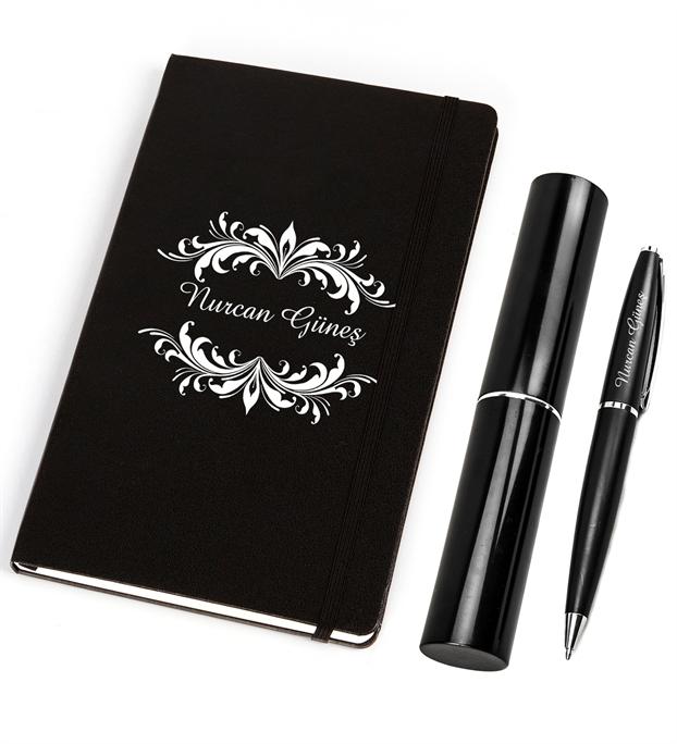 Kişiye Özel Siyah Defter- Kalem Set