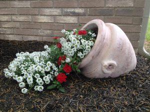 çiçek dökülen saksılar