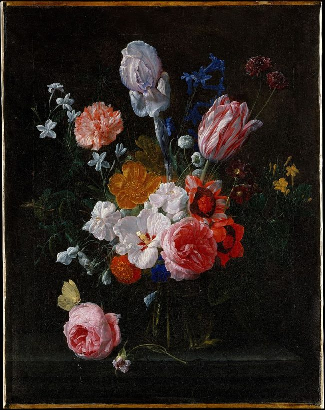 flowers in a glass vase Nicolaes van Verendael