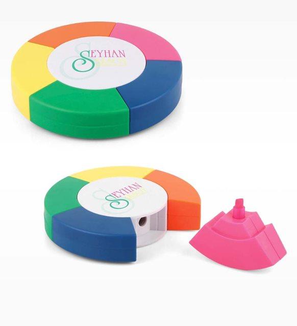 Kişiye Özel Çok Renkli Yuvarlak Fosforlu Kalem