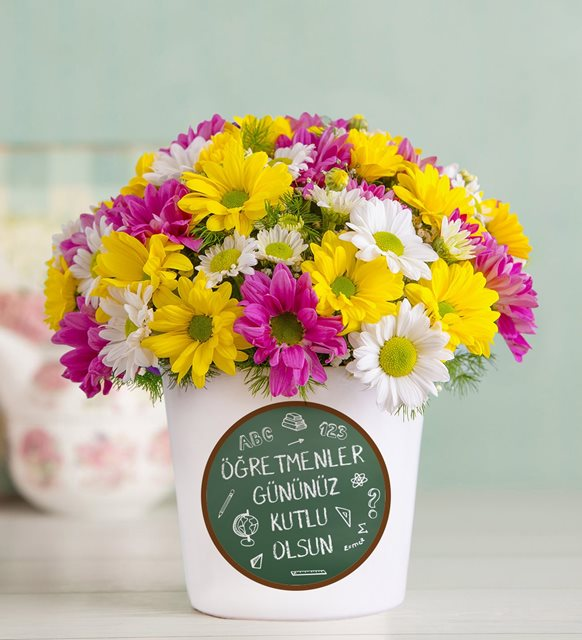 öğretmene çiçekler