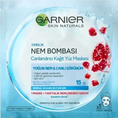 Garnier Normal & Kuru Ciltler için Nem Bombası Canlandırıcı Kağıt Yüz Maskesi