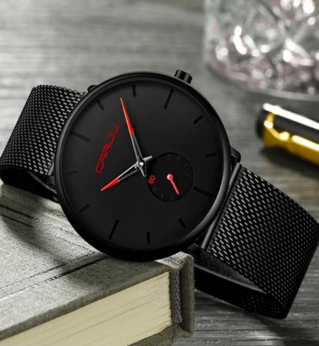 Crrju Siyah Hasır Erkek Kol Saati Sade Ve Şık Tasarım Saat