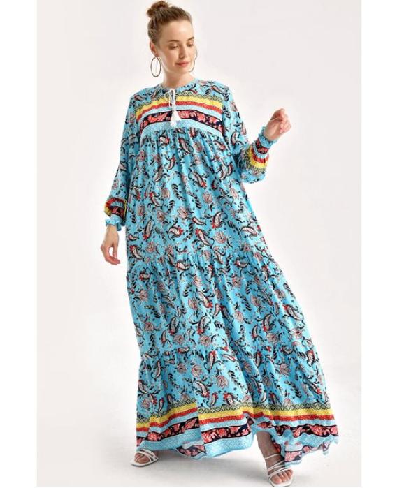 Kol büzgülü robalı çiçek desenli elbise