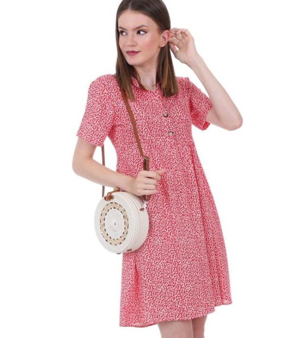 Önü düğmeli çiçekli elbise