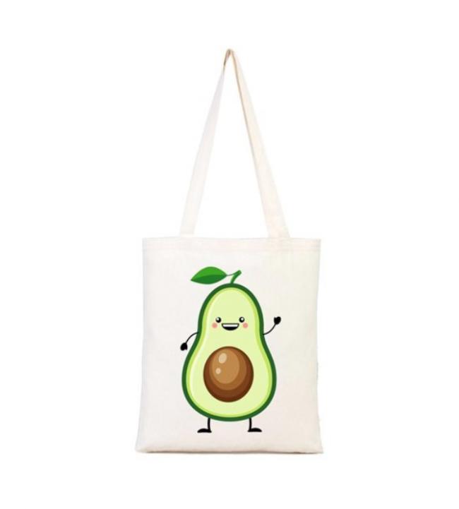 Avokado baskılı bez çanta