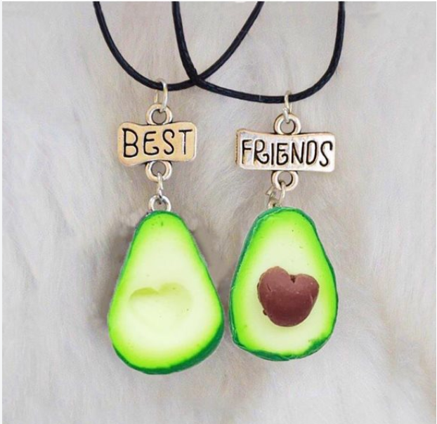 Avokado desenli best friends kolye