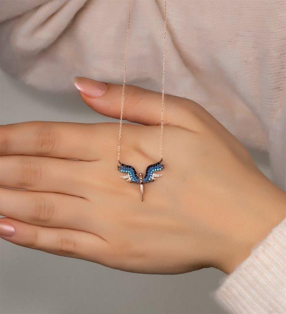 Gümüş melek kolye