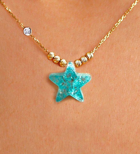 Deniz yıldızı taşlı kolye