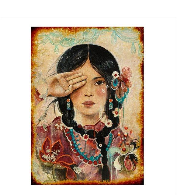 Çilekli kız tablo