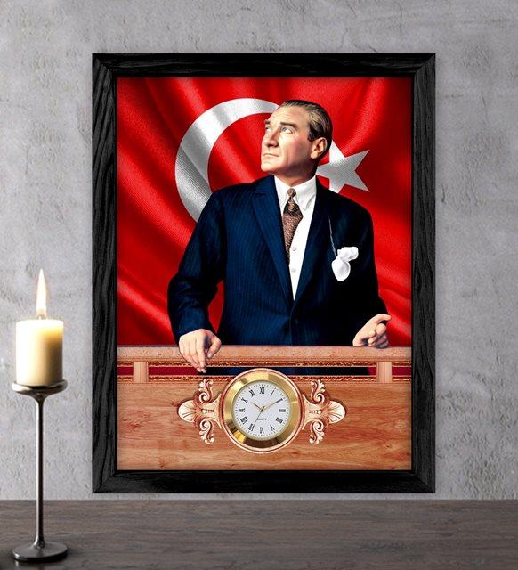 Atatürk ve bayrak saatli tablo
