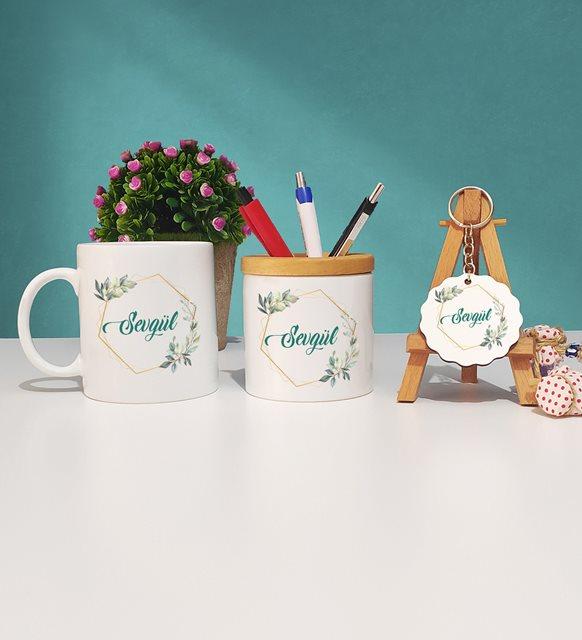 Çiçek tasarımlı kupa-kalemlik-anahtarlık seti