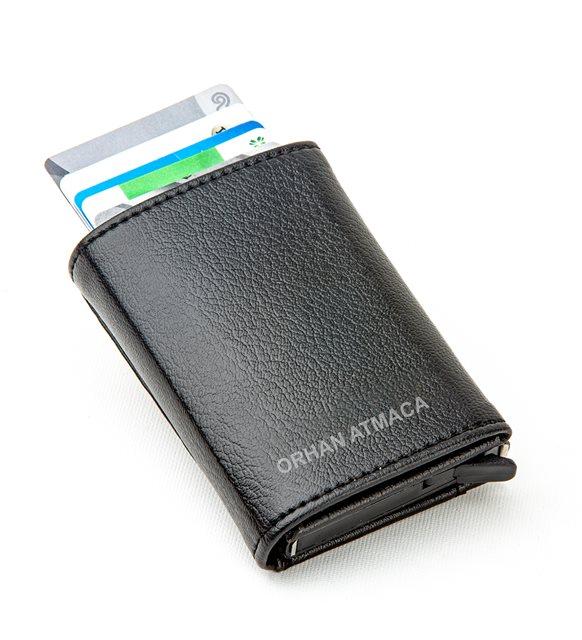 Mekanizmalı deri cüzdan