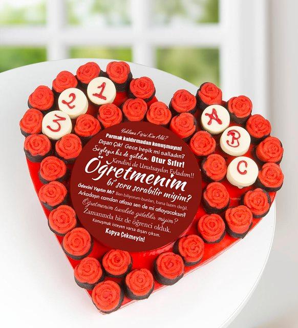 Öğretmen Sözleri Kırmızı Güller Kek Aranjmanı
