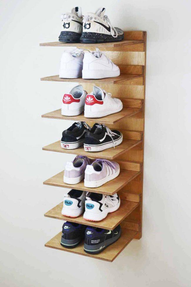 Ayakkabı depolama fikirleri - duvar rafları