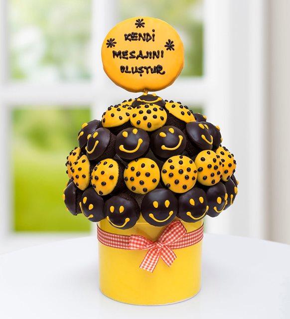 Dünya Mutluluk Günü kek buketi