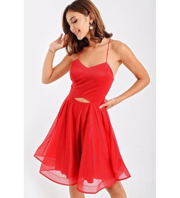 Monokrom giyim - kırmızı elbise