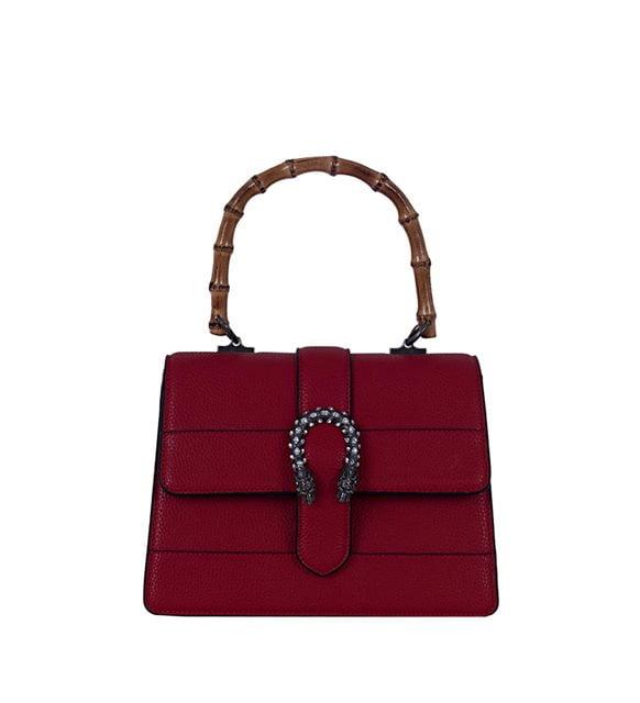 Monokrom giyim - koyu kırmızı el çantası